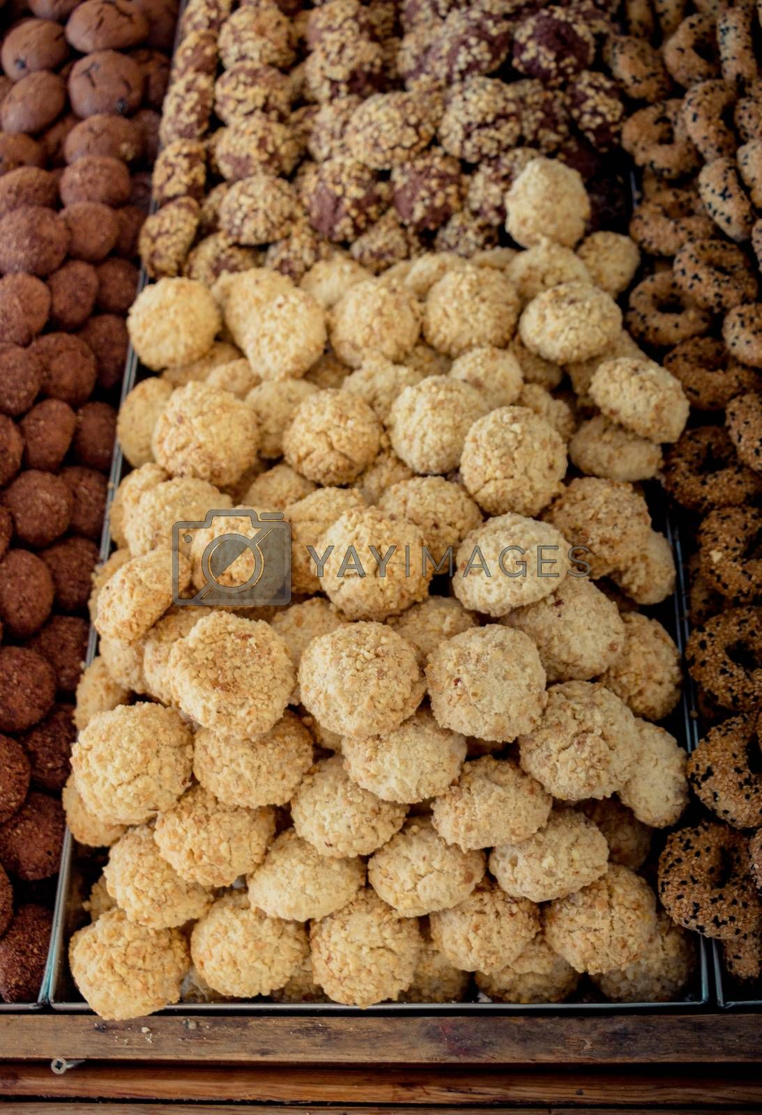 Turkish style freshly made cookies  as snack in view
