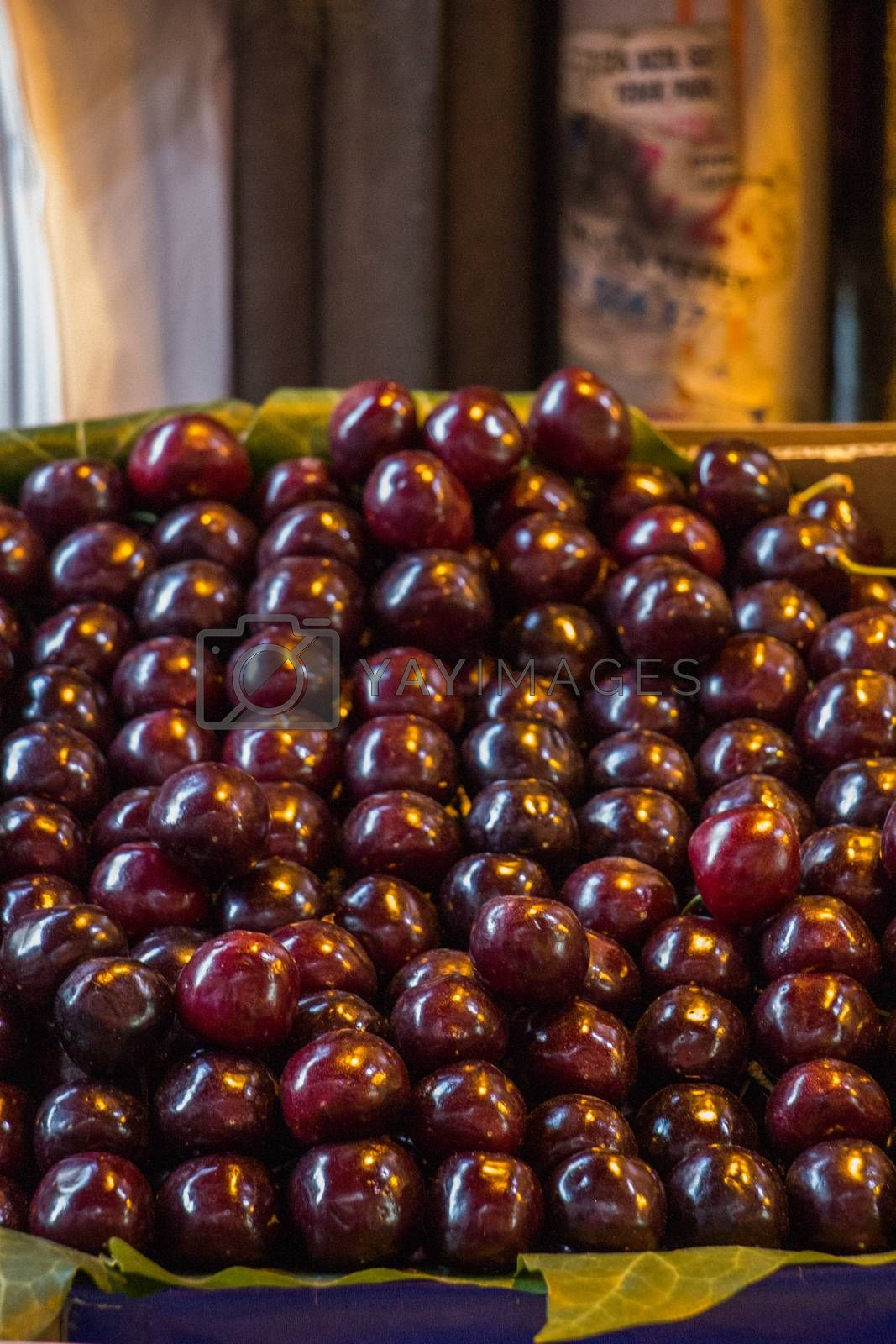 Cherries in a Turkish street bazaar in view