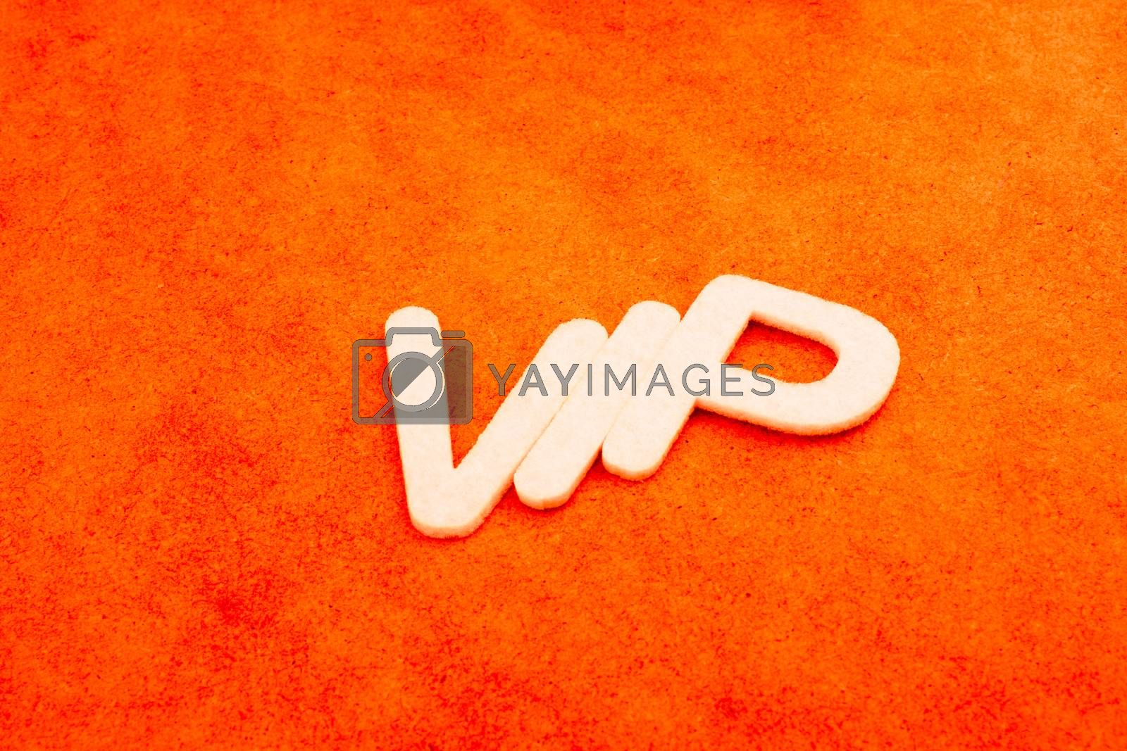 VIP written with letters on a  colorful background