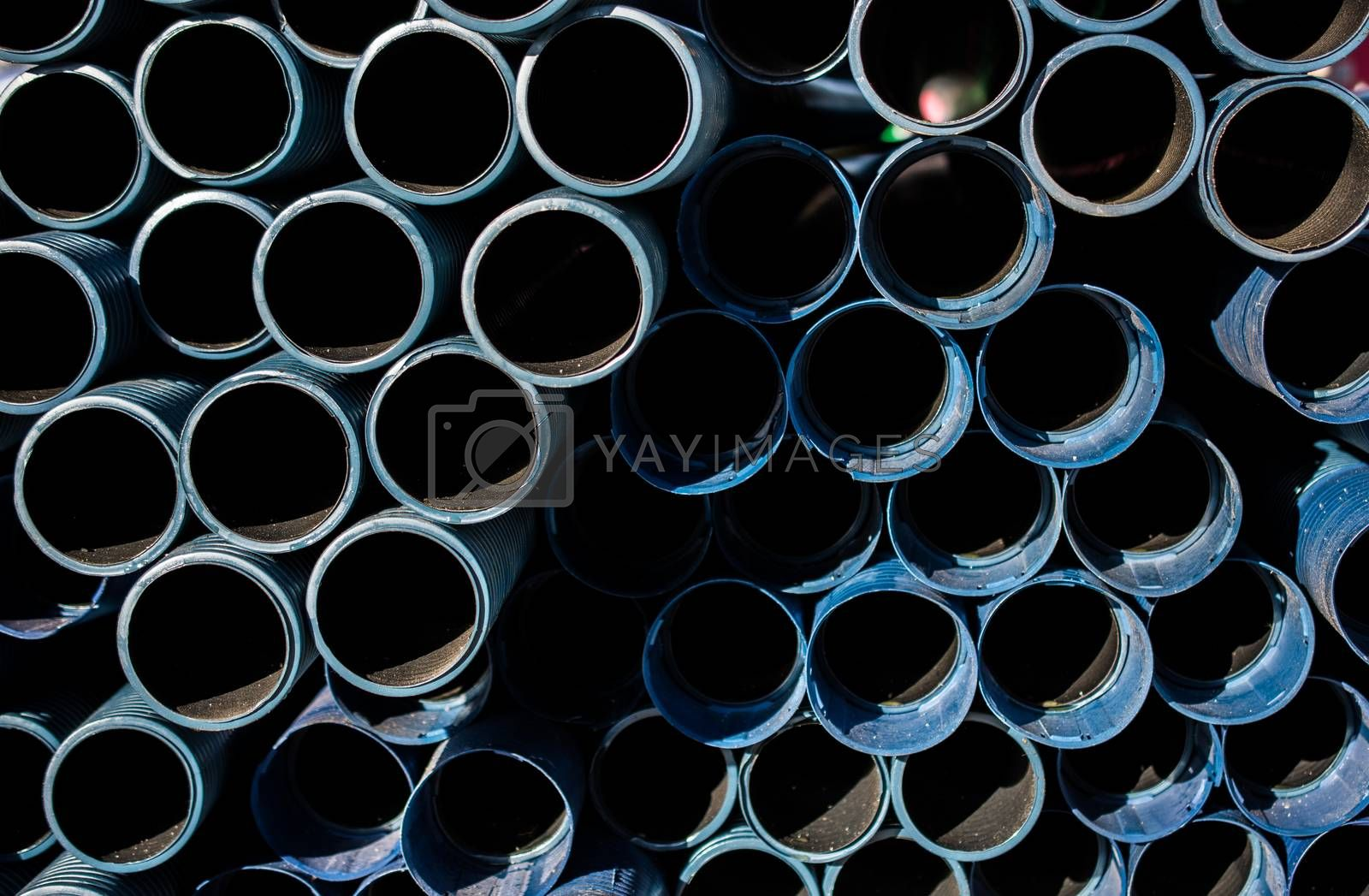 Dark blue color lue water pipes in view