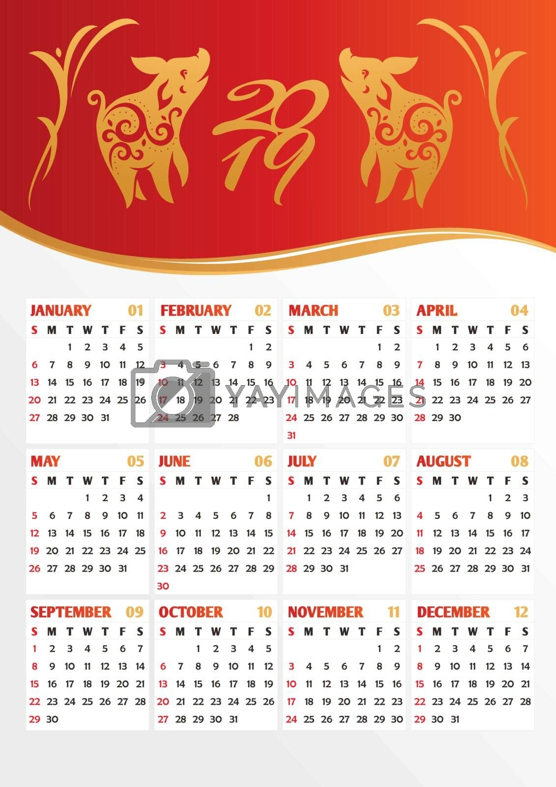 2019 year calendar with stylized pigs. Translation of the Chinese hieroglyph to English: pig. Vector illustration