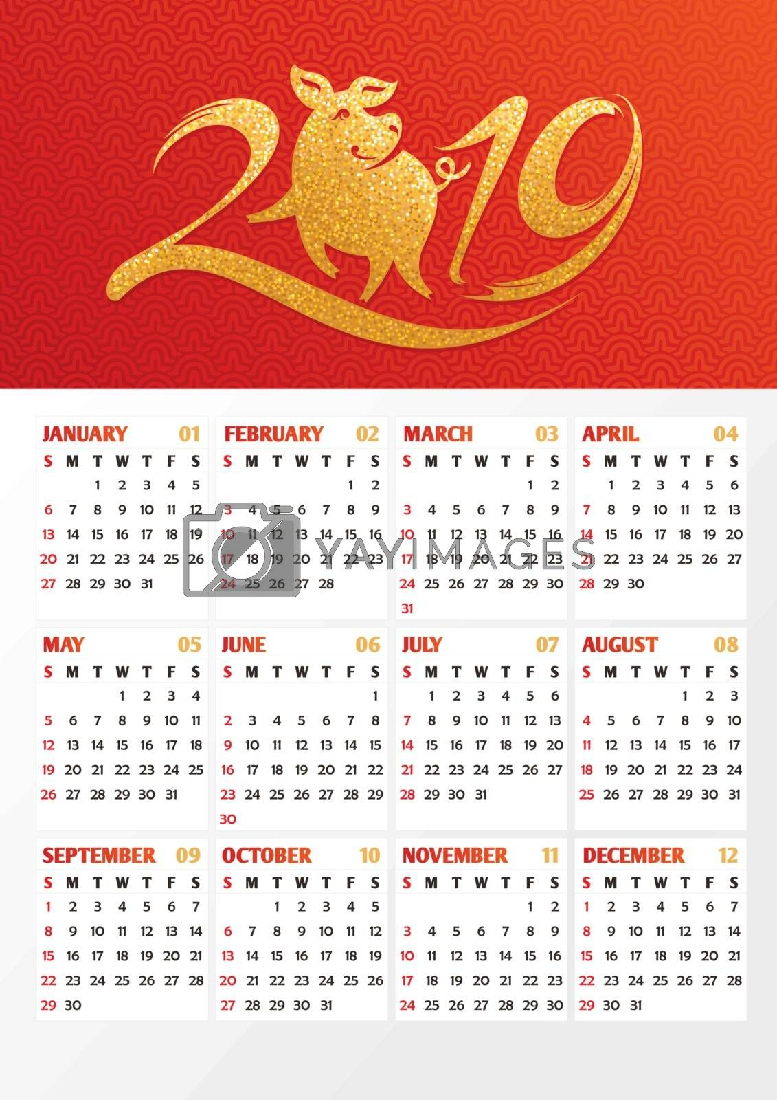 2019 year calendar with Chinese symbol of the year - pig, vector illustration