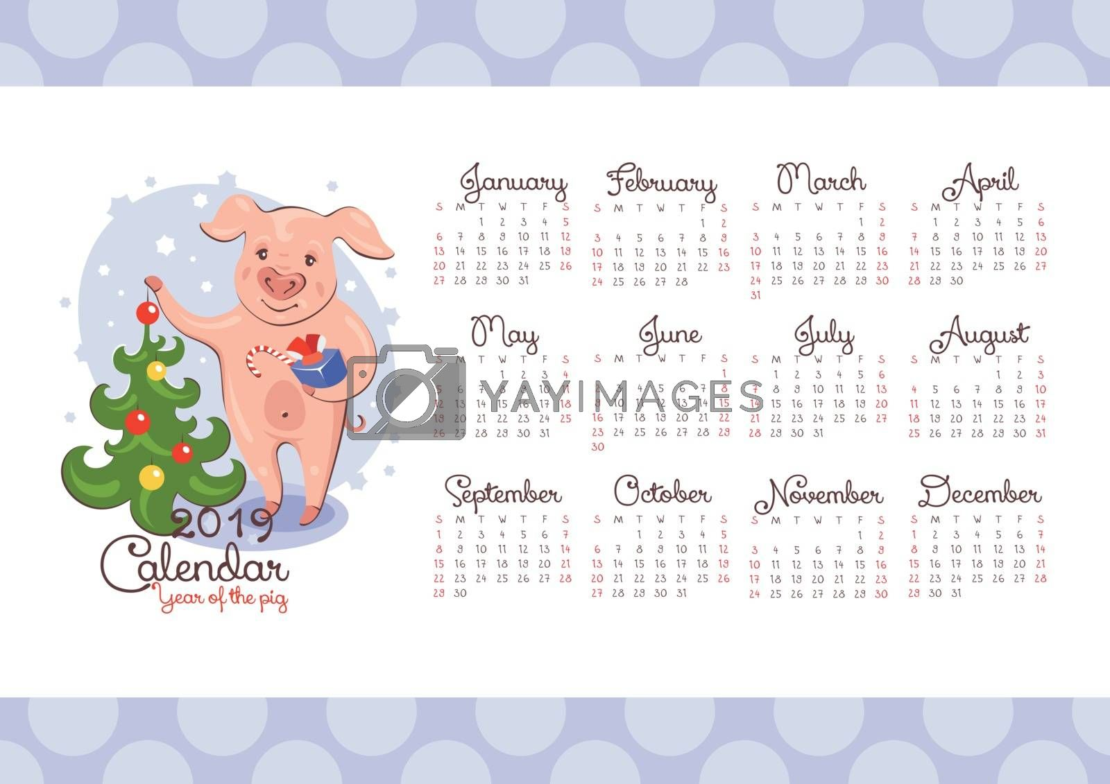 2019 New Year calendar with a pig and a Christmas Tree. Vector illustration.