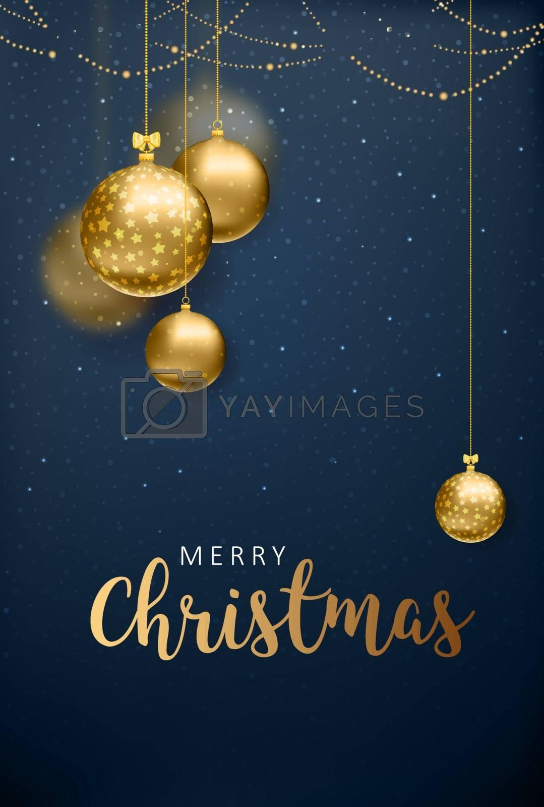 Vector illustration of Golden balls background with sparkling