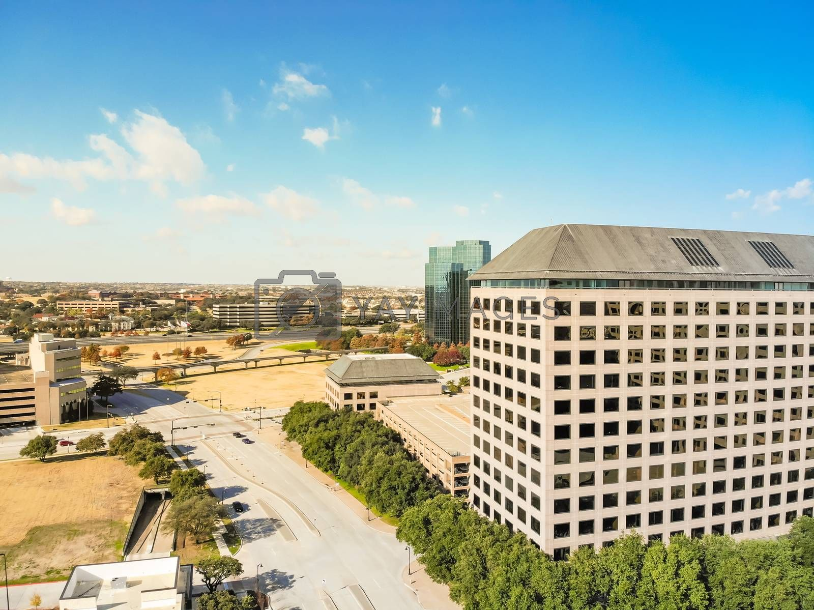 Aerial drone view downtown Las Colinas, an upscale, developed area in the Dallas suburb, Texas, USA