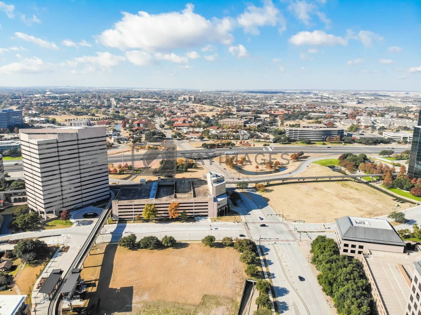 Aerial view downtown Las Colinas, Irving, Texas and light rail system (Area Personal Transit, APT). Las Colinas is an upscale, developed area in the Dallas suburb