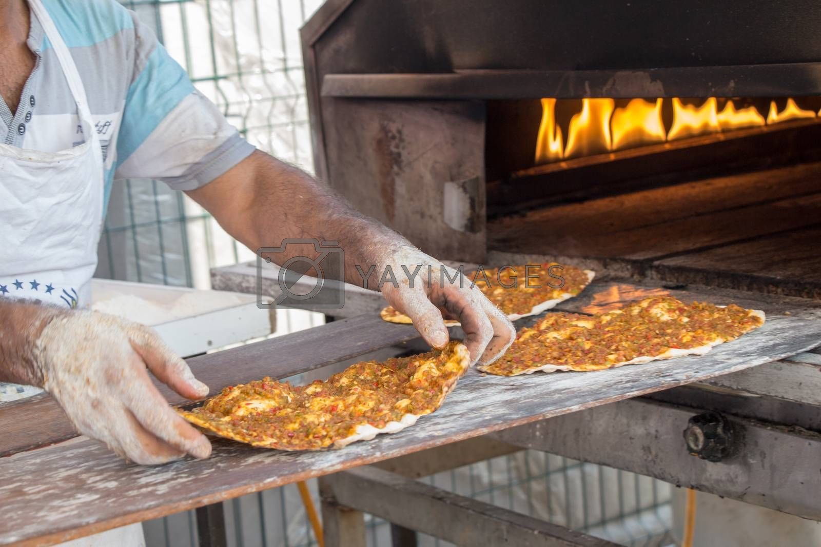 Lahmacun, Turkish pizza pancake with spicy meat filling