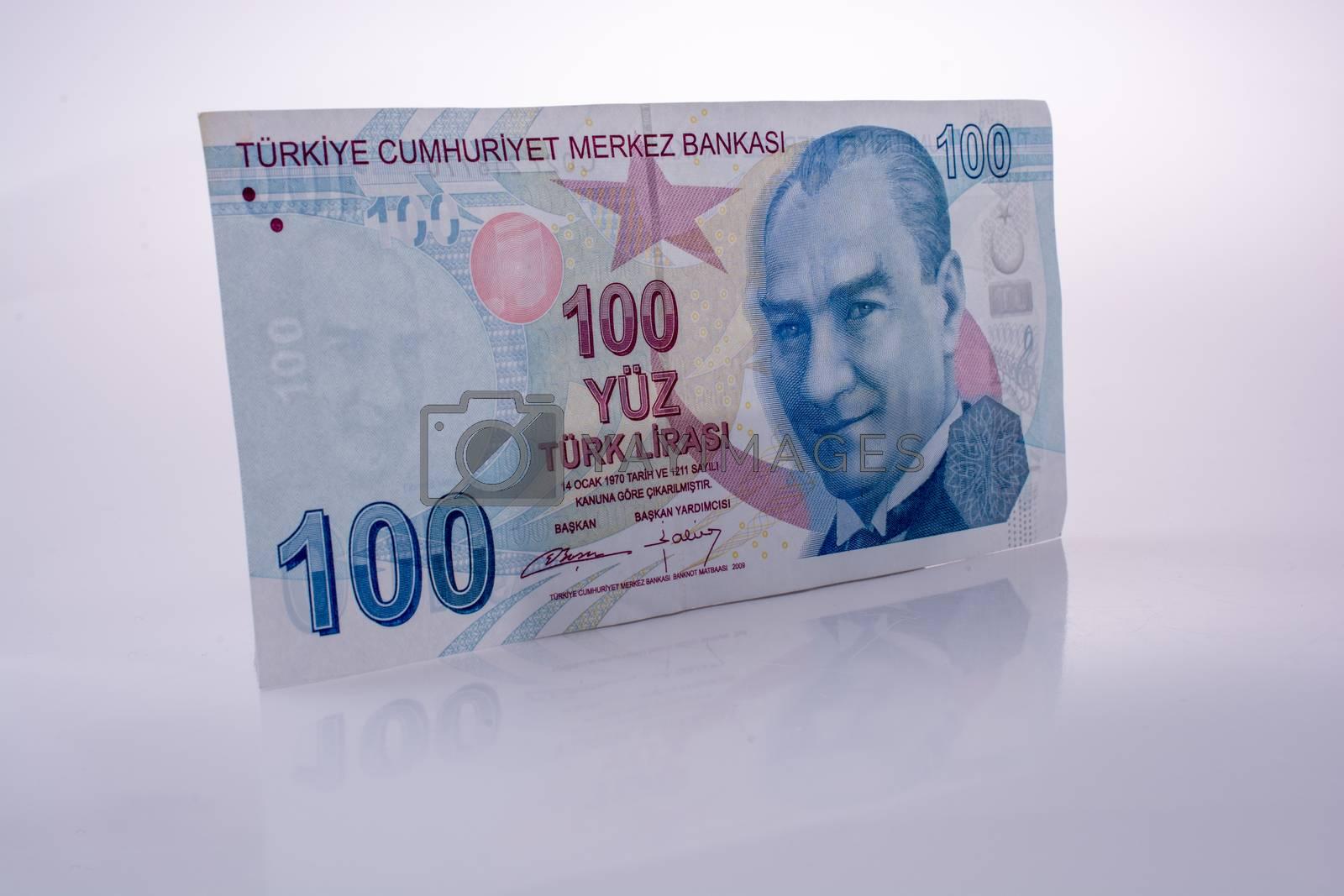 Turksh Lira banknotes of 100 Lira  on white background