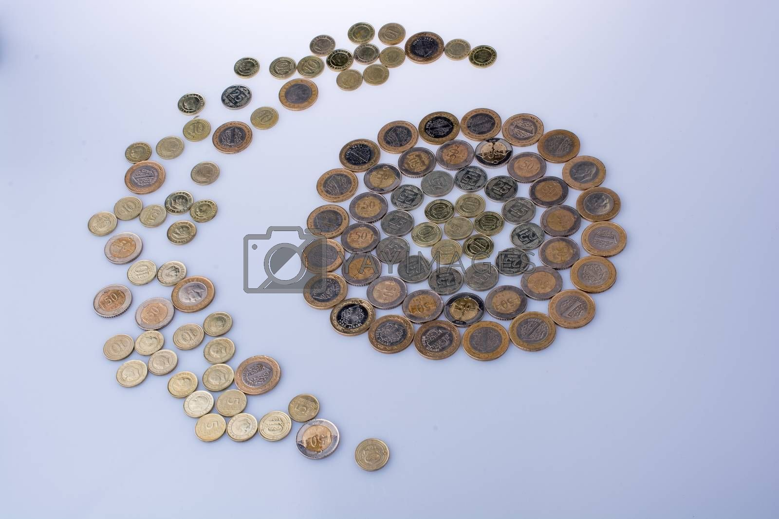 Turkish Lira coins shape a crescent round a circle object on white background