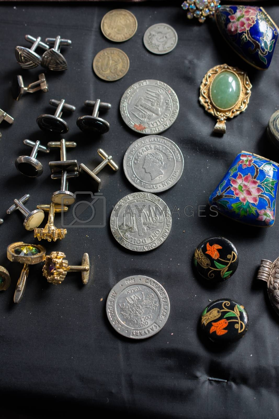 Old metal coin of various currencies