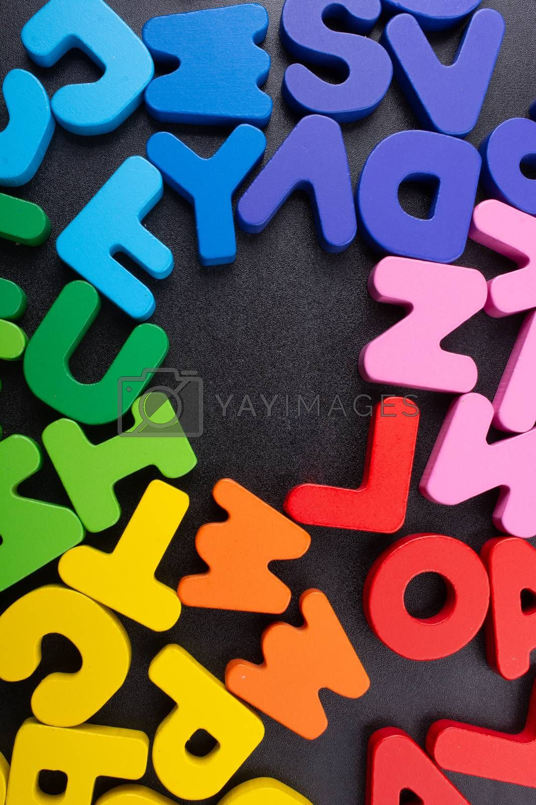 Colorful Letters of Alphabet made of wood