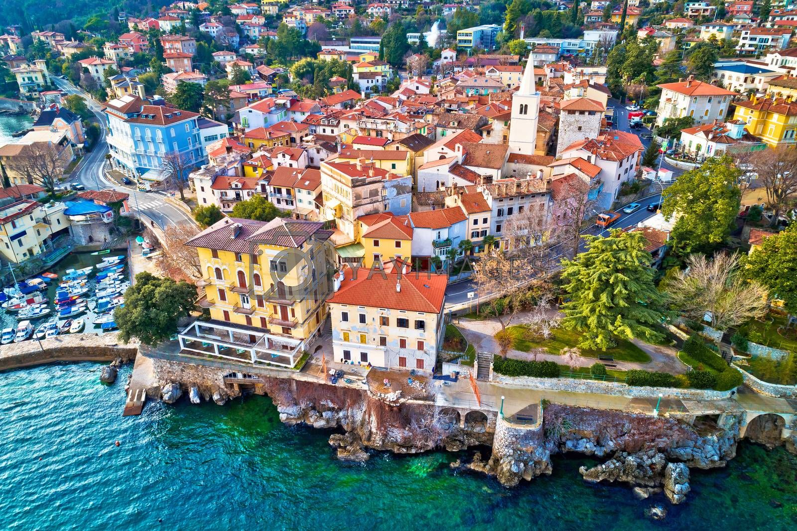 Town of Lovran and Lungomare sea walkway aerial view, Kvarner bay of Croatia