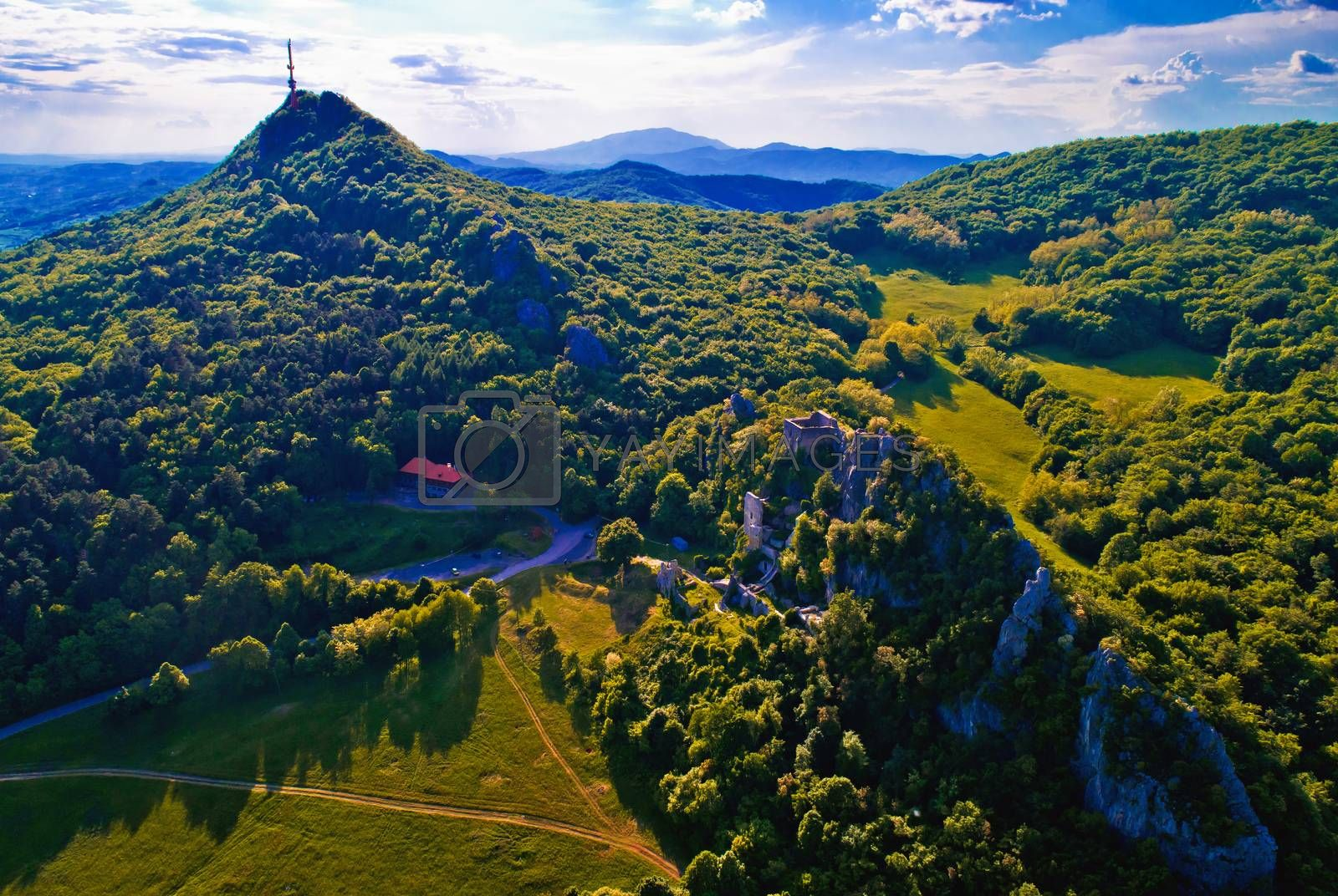 Kalnik mountain ridge and old fortress ruins aerial view, Prigorje region of Croatia