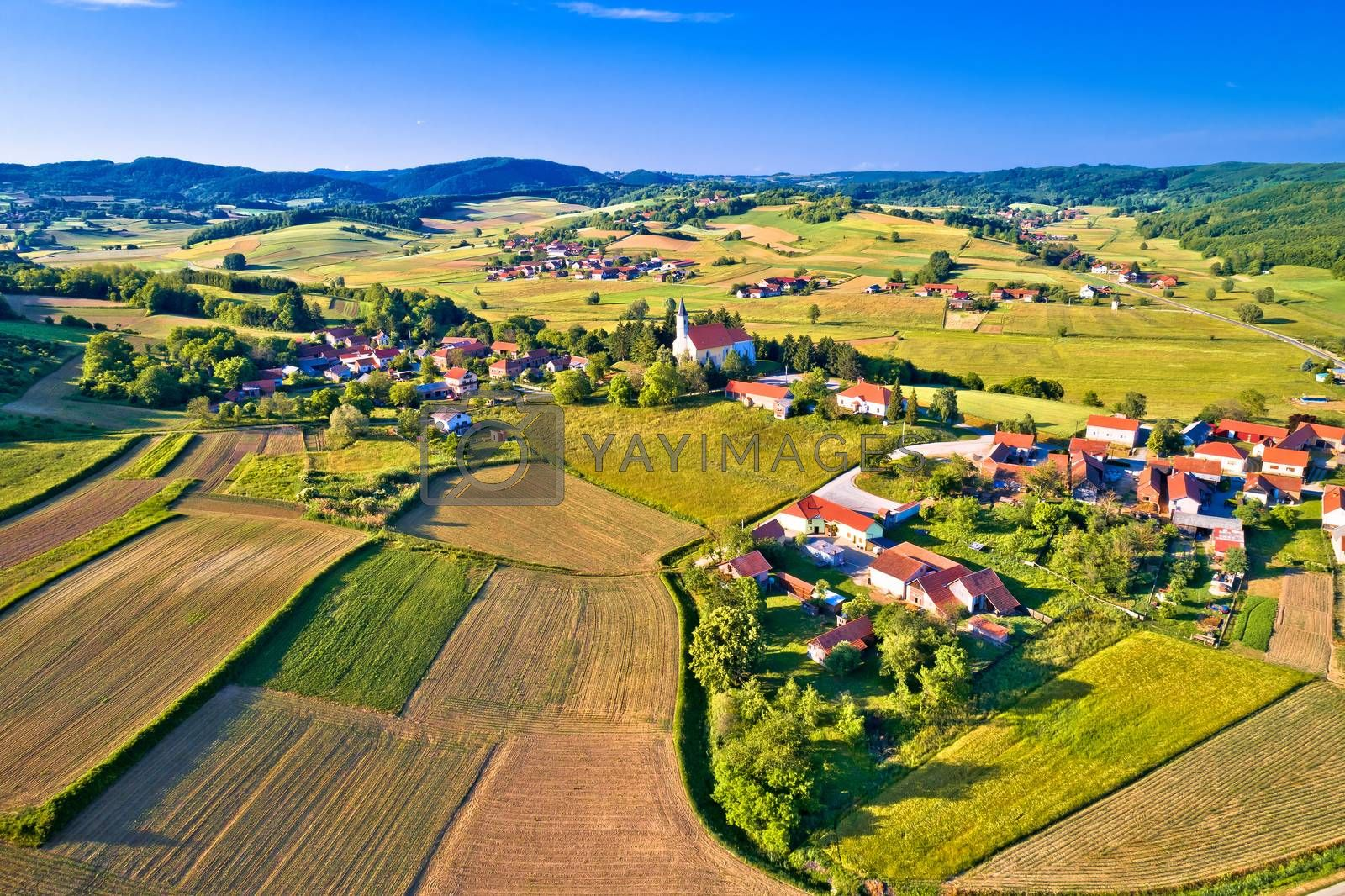 Village of Glogovnica and green nature aerial view, Prigorje region of Croatia