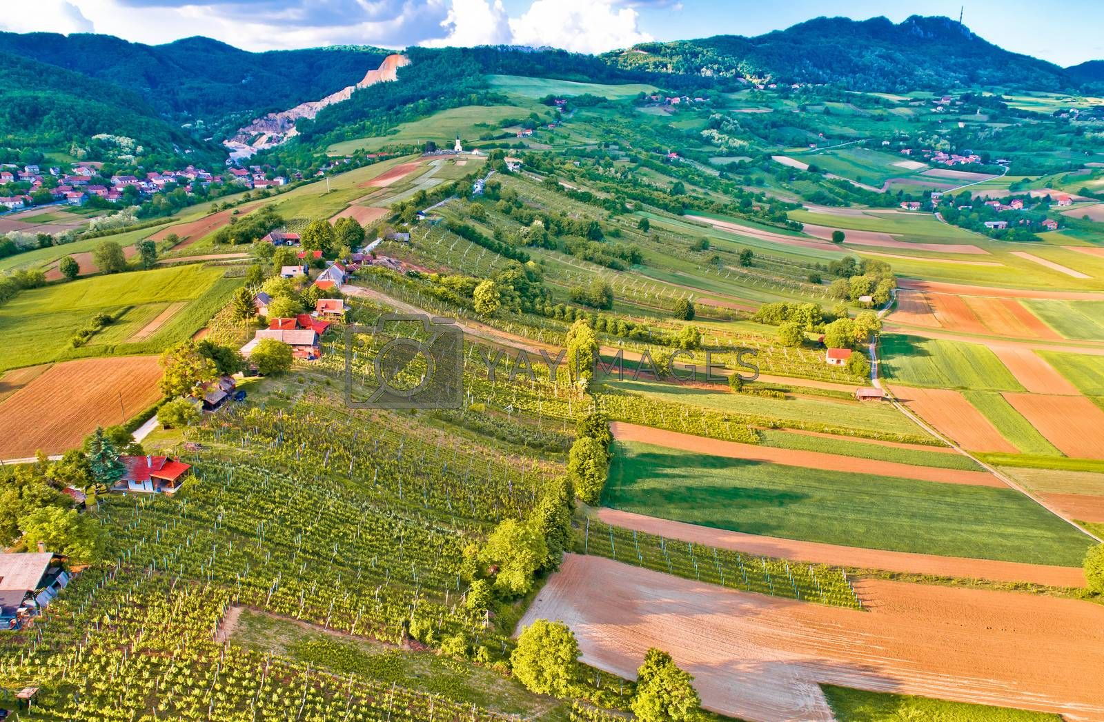 Kalnik mountain and Obreske kleti village aerial view, Prigorje region of Croatia