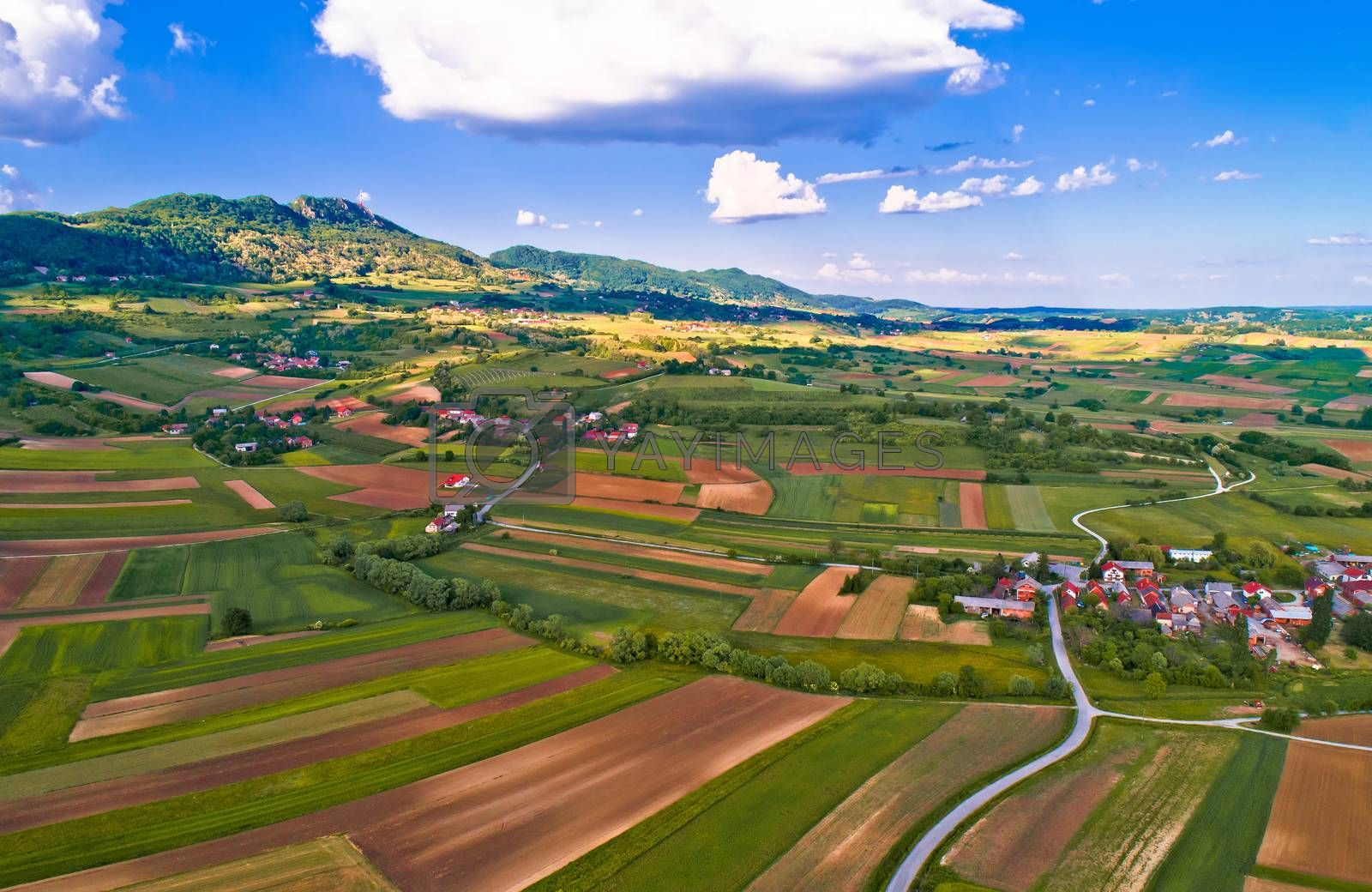 Kalnik mountain and green landscape village aerial view, Prigorje region of Croatia