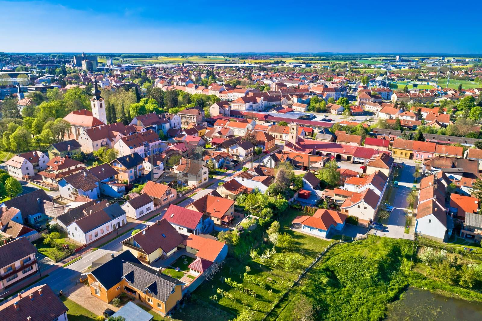 Town of Koprivnica green landscape aerial view, Podravina region of Croatia