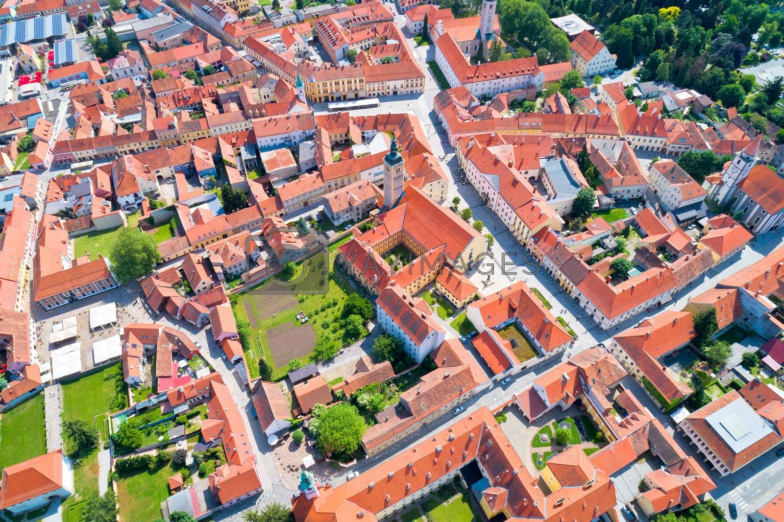 Town of Varazdin historic center aerial view, northern Croatia
