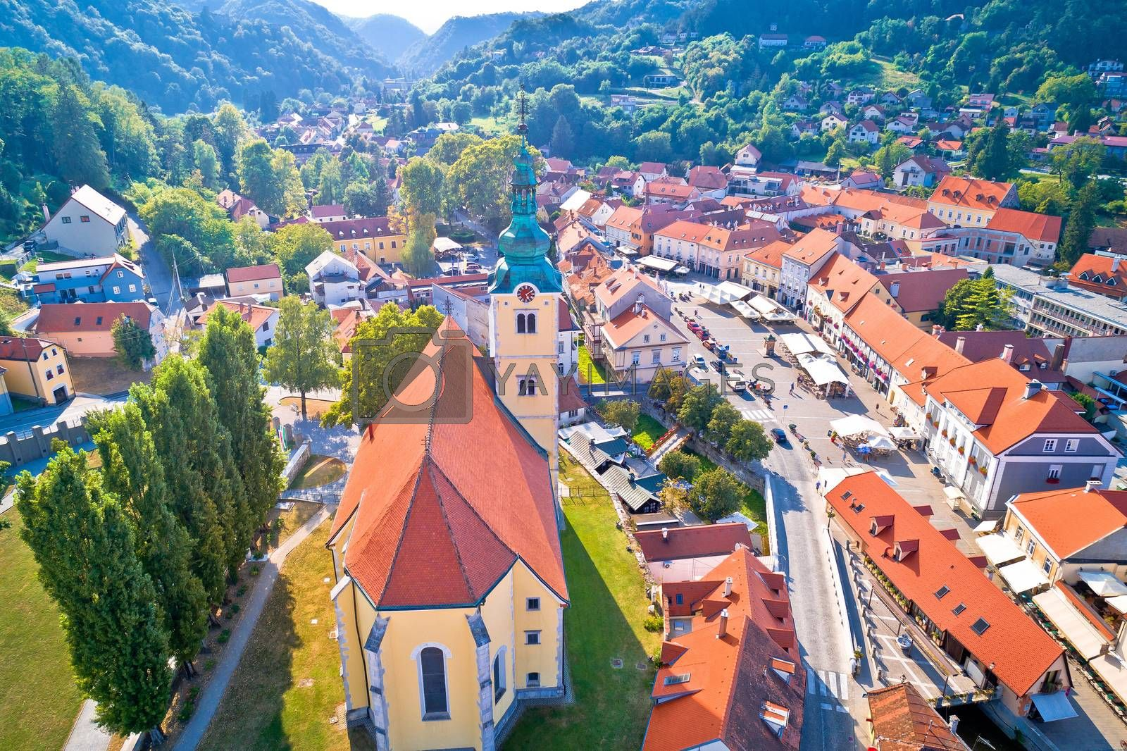 Samobor main square and church tower aerial view, northern Croatia