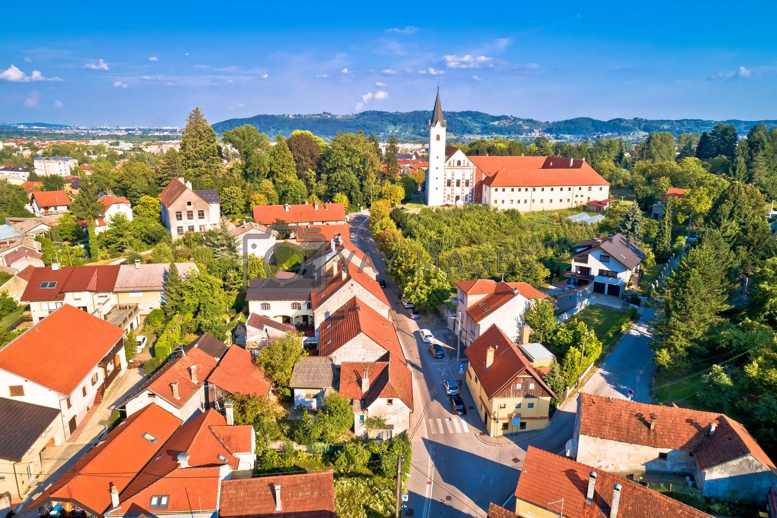 Green town of Samobor church and landscape aerial view, northern Croatia