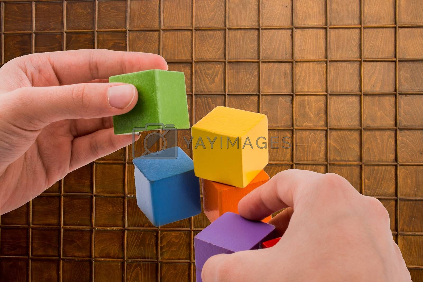 Hand playing with colorful cubes on a  background