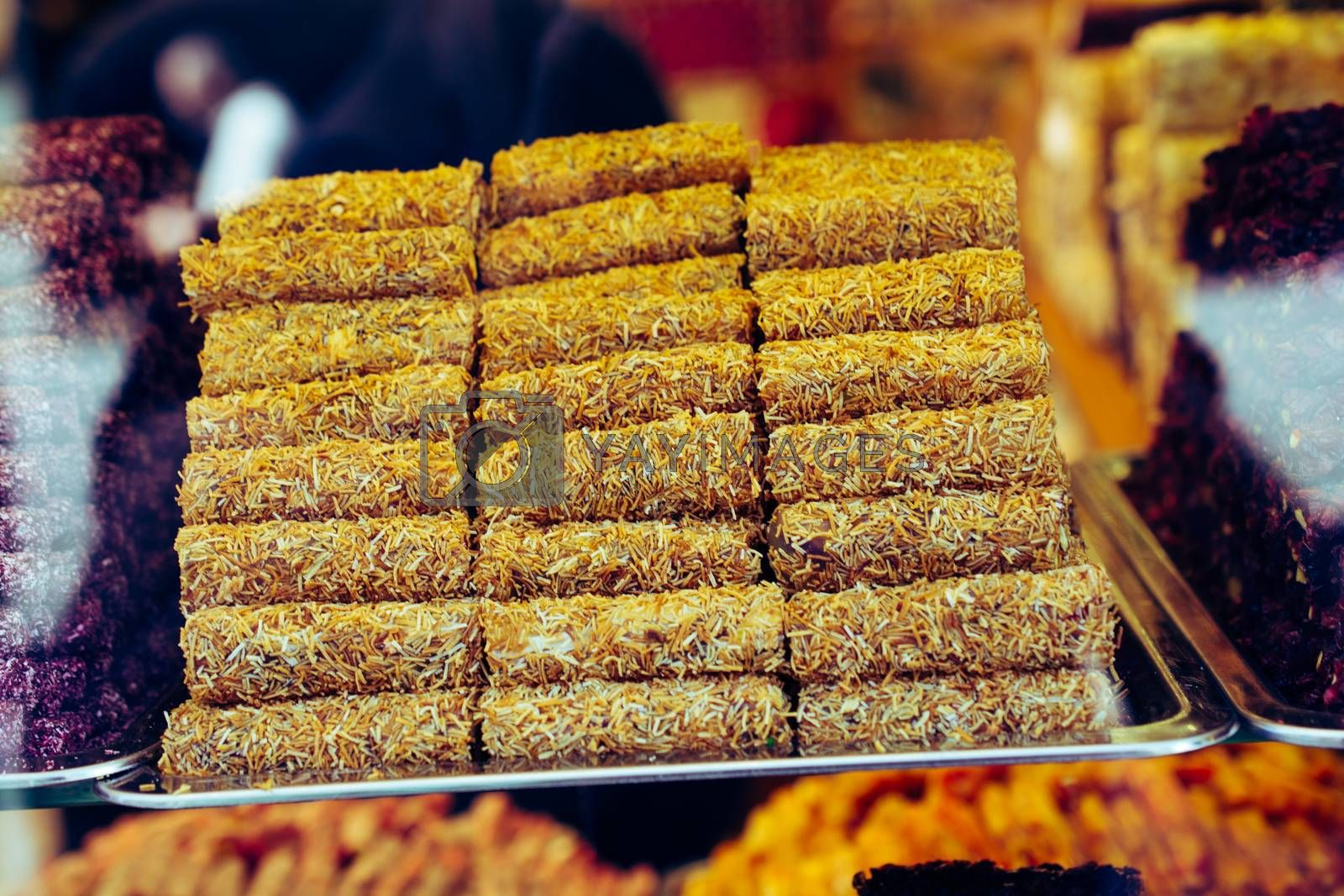 Turkish delight or lokum is a family of confections based on a gel of starch and sugar