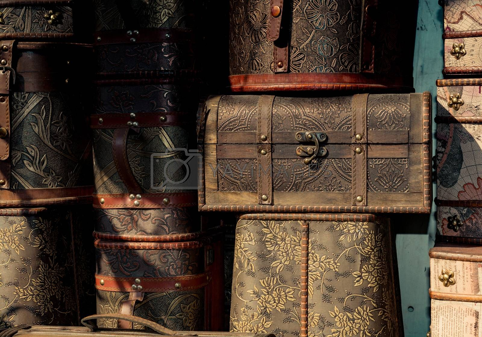 Set of wooden boxes of light brown color