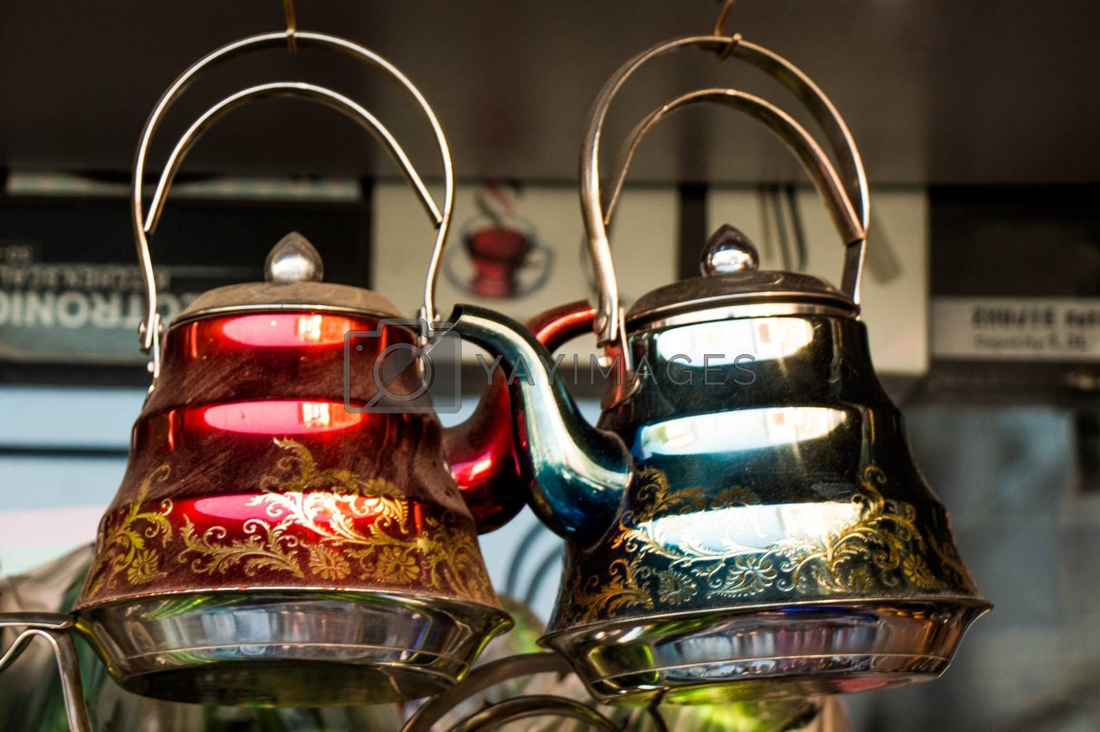 Turkish tea pot made of metal in a traditional style