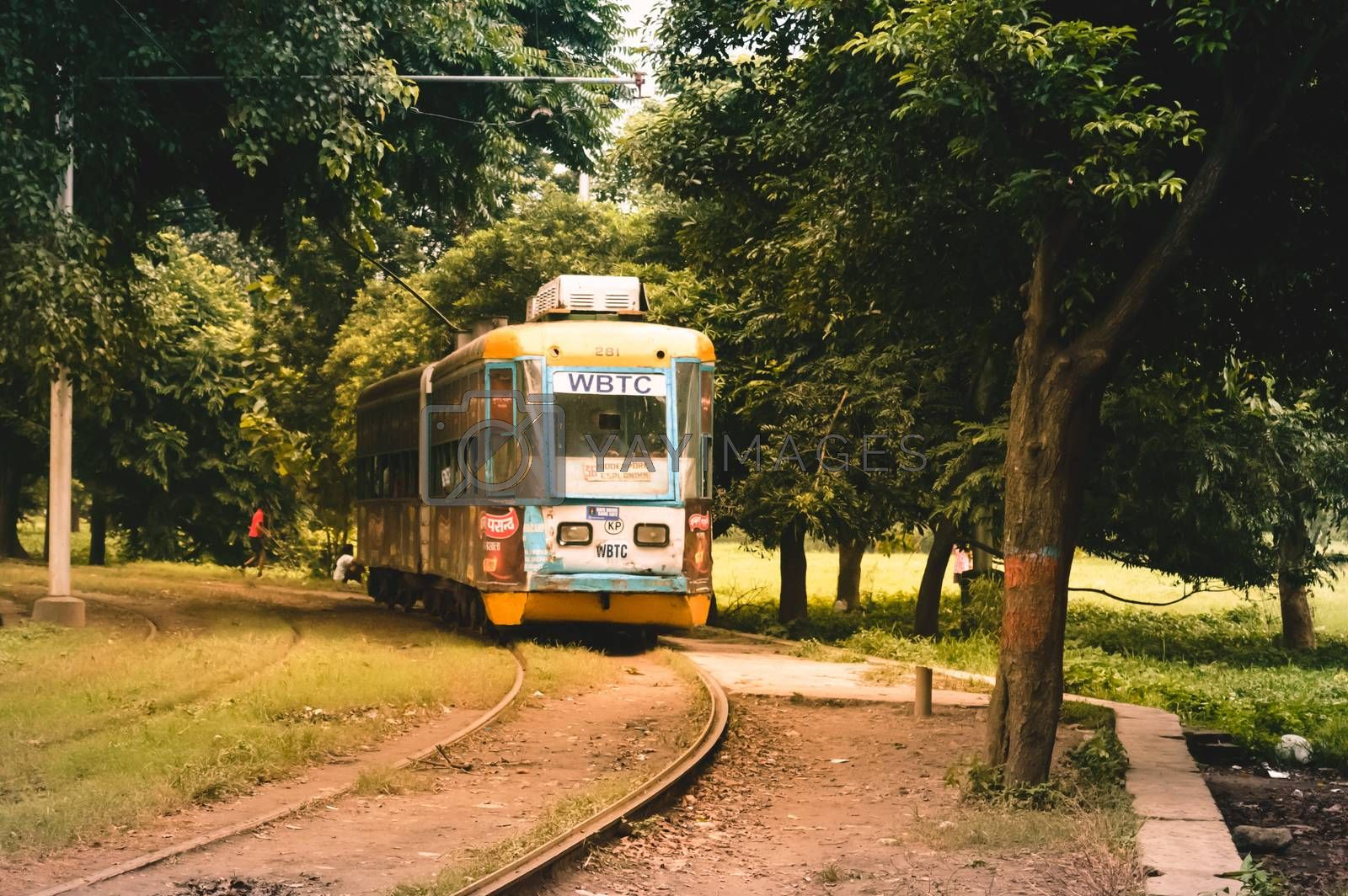 View of traditional public tram and tramway of kolkata, India.