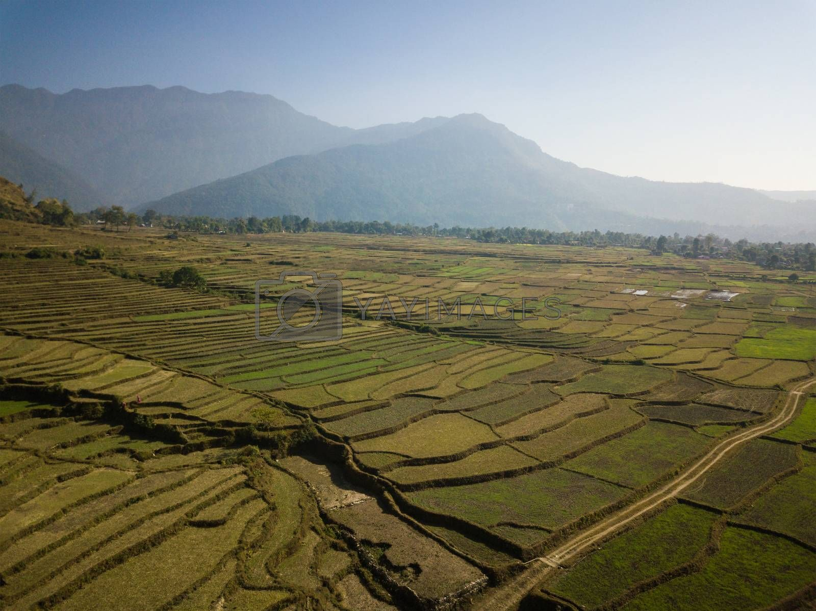 Aerial view of rural landscape in central Nepal. Paddy fields and hills in winter.