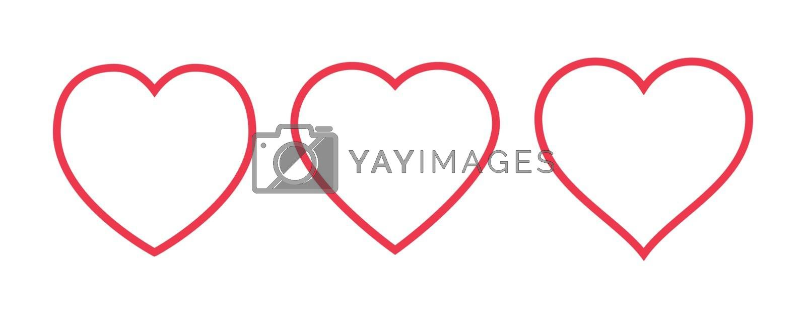 Red heart Icon isolated on white background. Set of love symbol for web site logo, mobile app UI design. Vector illustration outline.