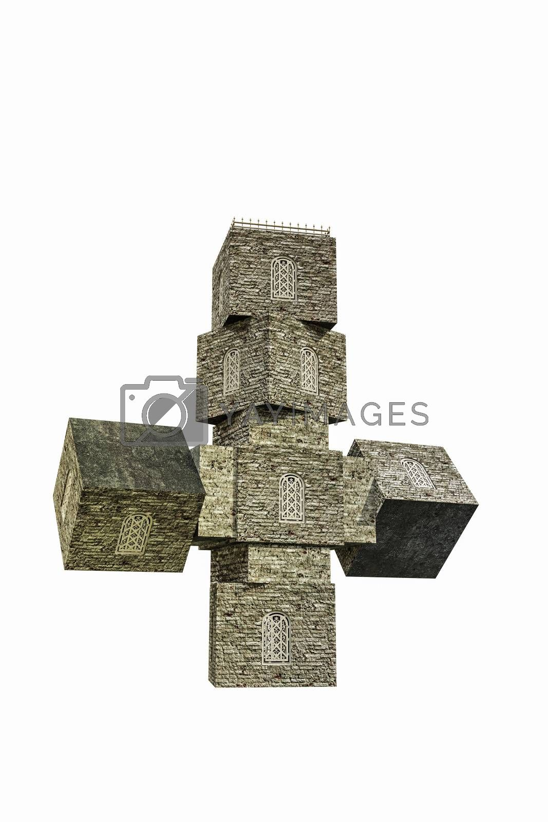 church cross shaped isolated on white background 3d illustration