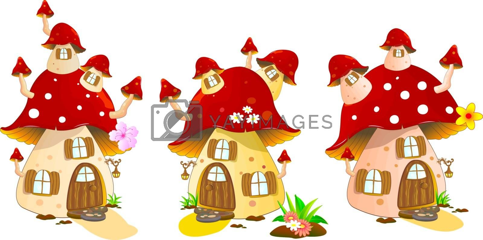 Cartoon mushrooms houses on a white background. Mushroom house red colors.
