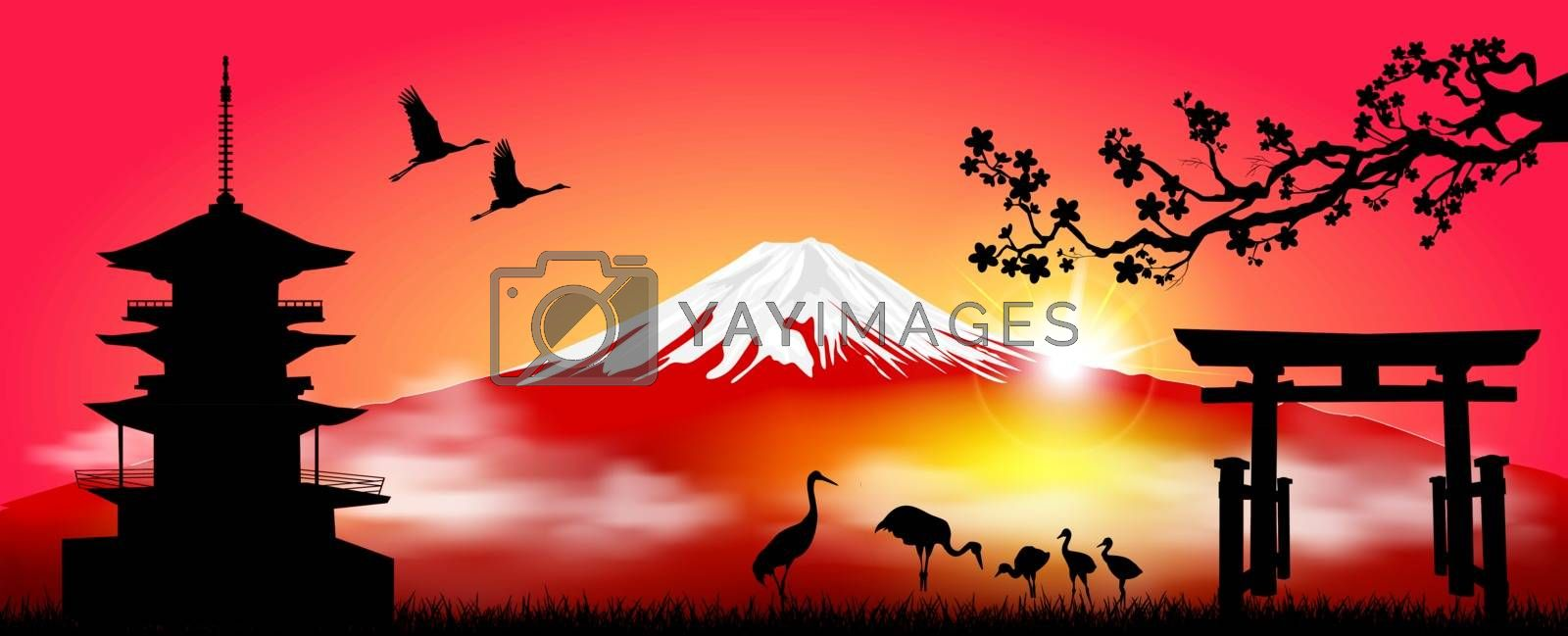 Silhouette Fuji mountain at sunrise. Fuji against the red sky and the rising sun. Landscape, Mount Fuji. Mount Fuji on a red background.