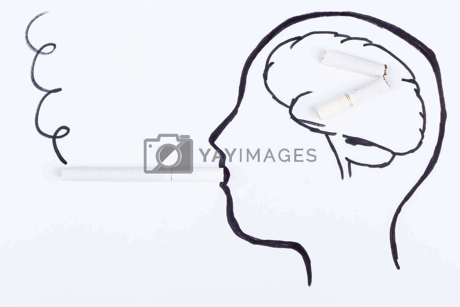 Human head hand drawing with cigarette in the mouth thinking to quit