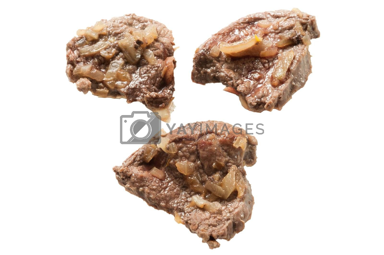 fried beef with onions isolated on white background