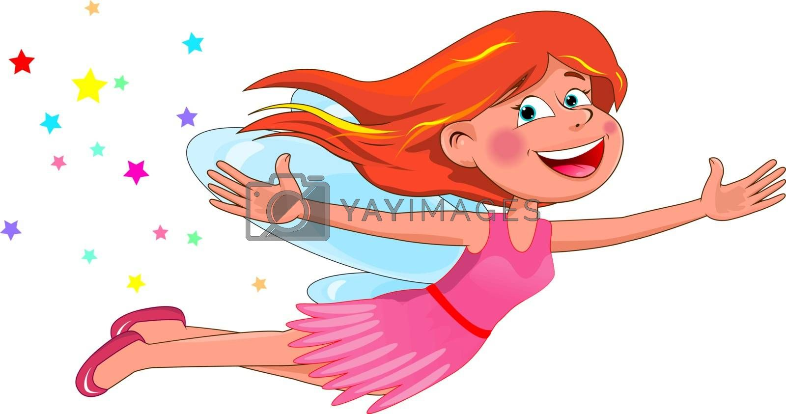 Fairy with red hair. Little flying fairy in a pink dress on a white background.
