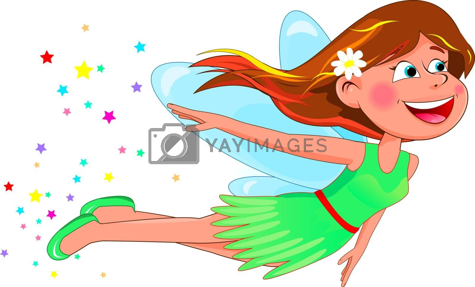 Little flying fairy in a green dress on a white background.