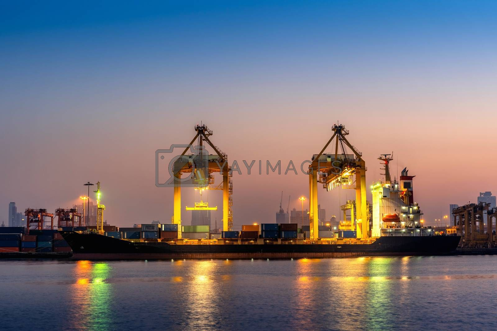 Industrial port with containers, Shipping cargo to harbor.
