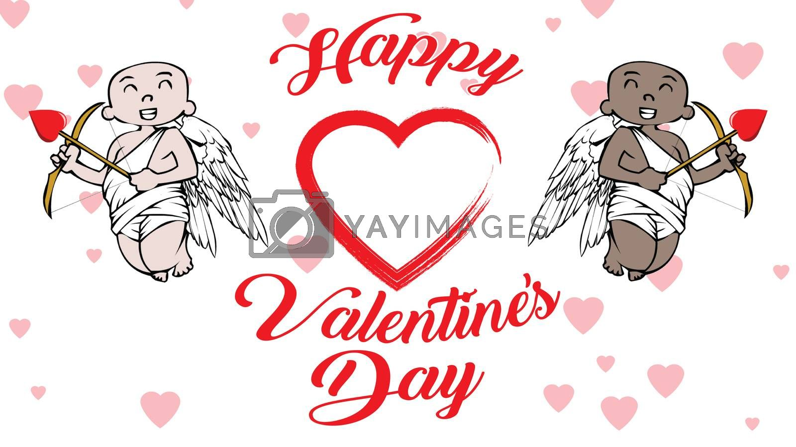 african-american and white cupids with Valentines Day logo and hearts