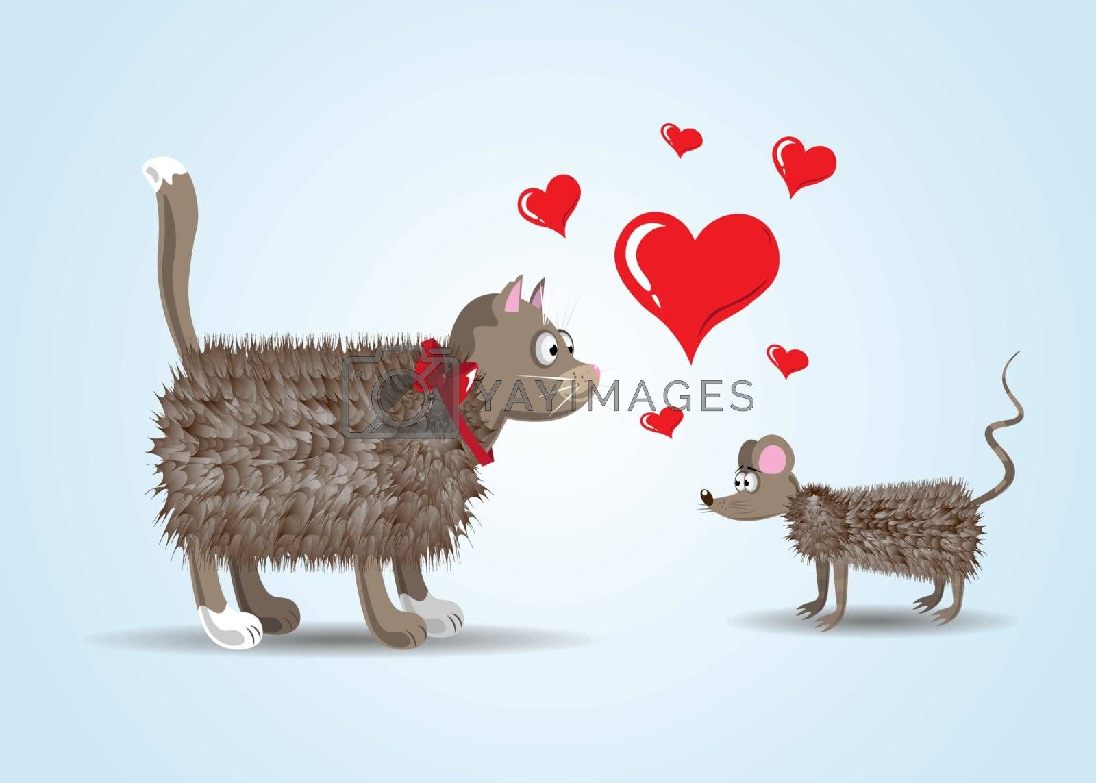 Couple of lovers Funny cartoon cat and rat with hearts by Musjaka