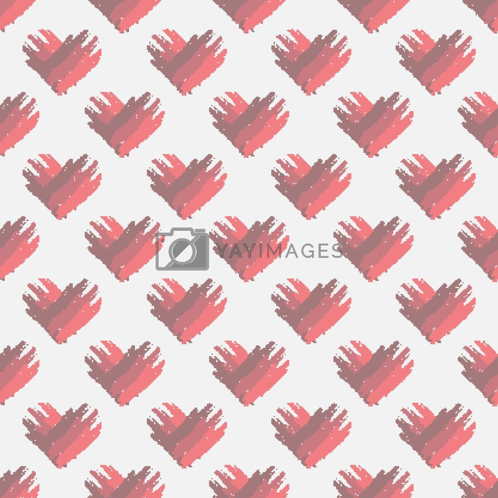 Valentines day background with grunge hearts. Seamless pattern 10 eps