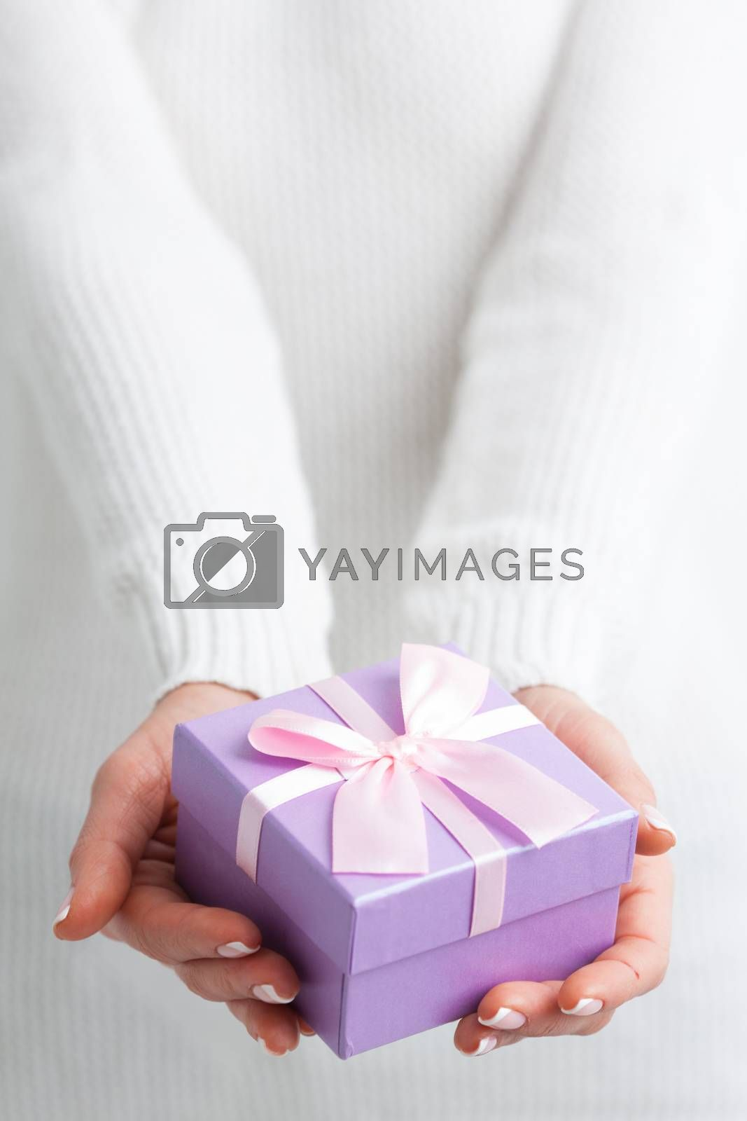 Female hands holding purple gift box with pink ribbon