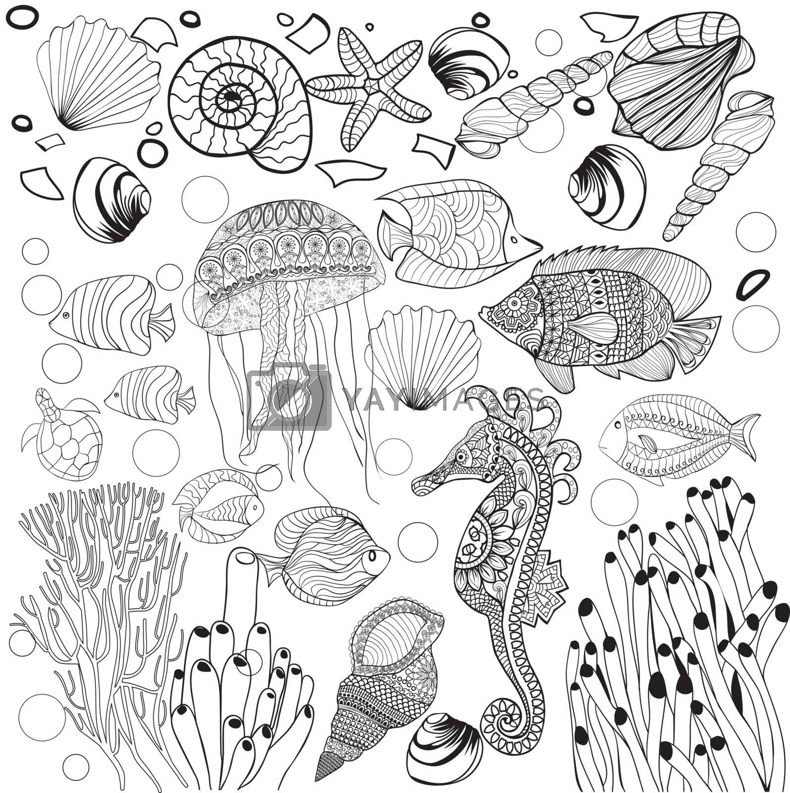 Decorative underwater world sea life, fishes, jelyfish, fishes, sea horse. Outline vector illustration black and white for Adult coloring book.