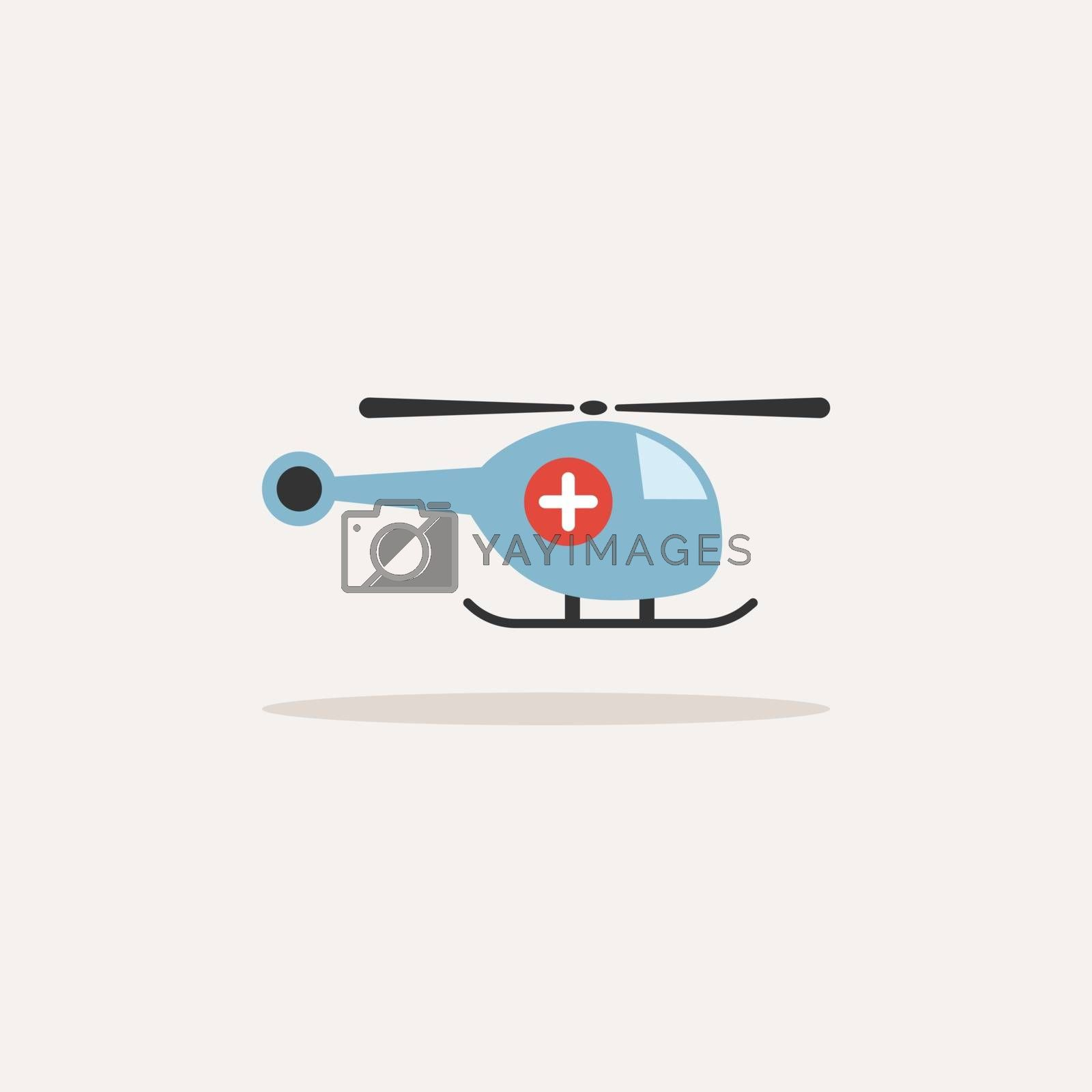 Emergency helicopter icon with shade on a beige background by imaagioStock