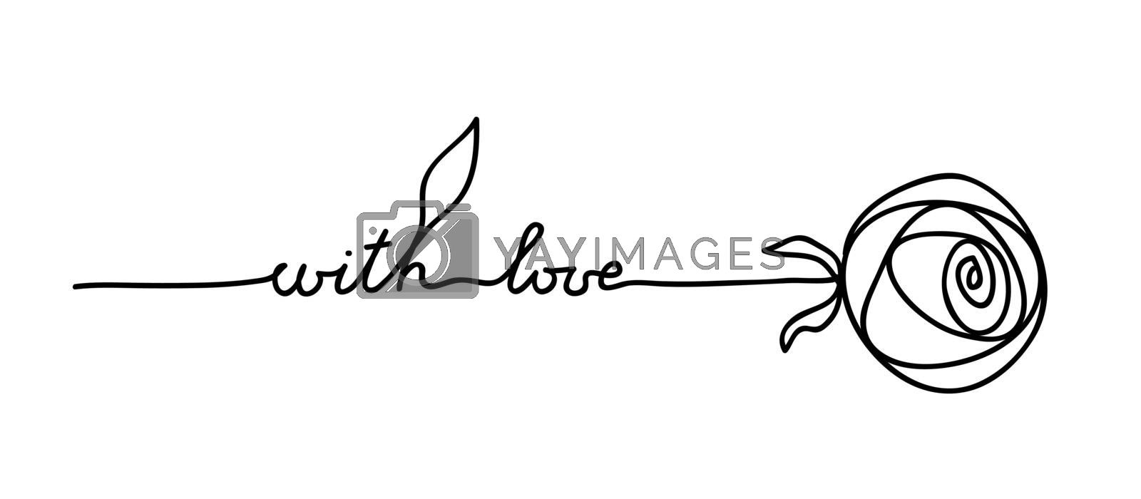 Rose. Stylized flower symbol. Outline hand drawing icon. Decorative element for wedding birthday design with lettering