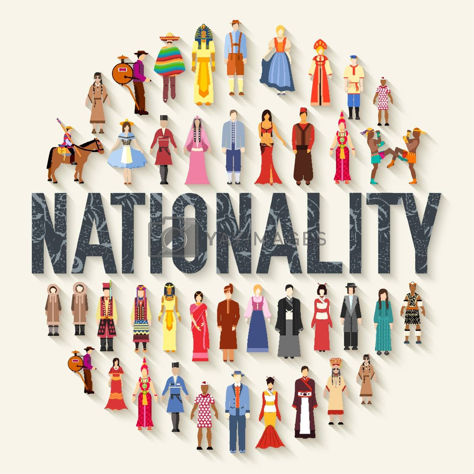 Vector flat circle nationality concept illustration concept set. People Friendship. International Day of the World Indigenous Peoples