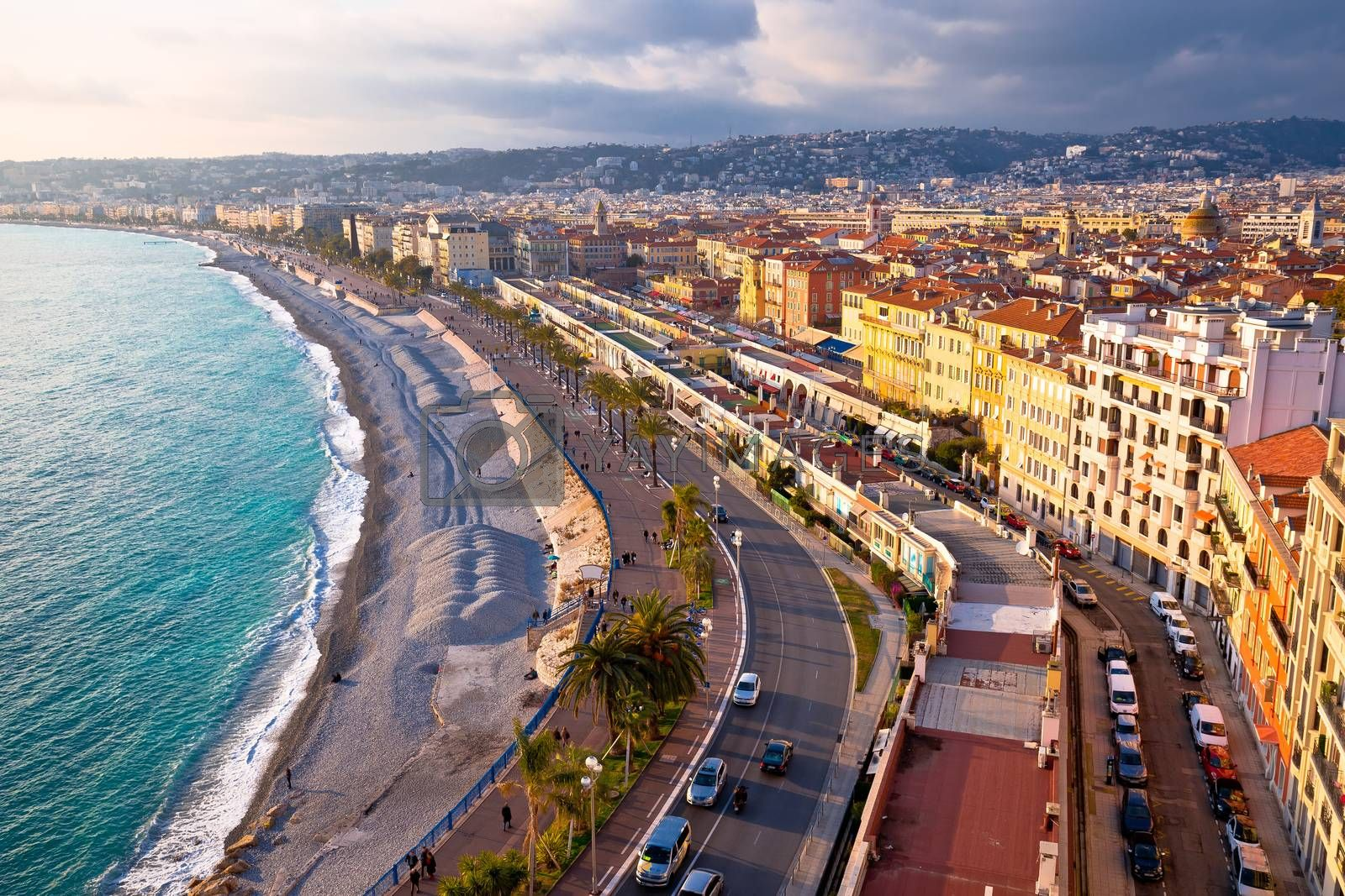 City of Nice Promenade des Anglais waterfront aerial view, French riviera, Alpes Maritimes department of France