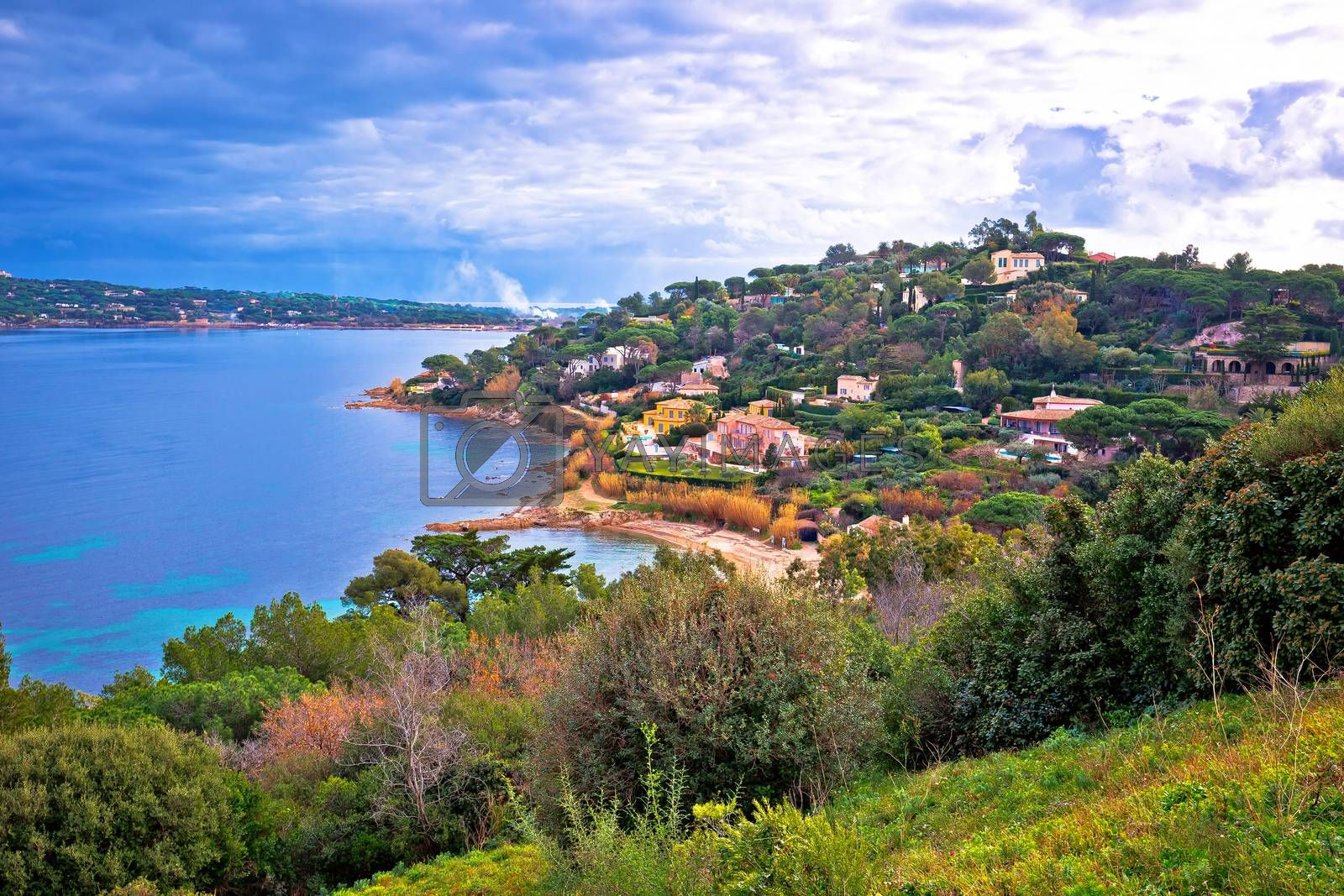 Saint Tropez luxurious coastline and green landscape view, famous tourist destination on French riviera, Alpes-Maritimes department in southern France