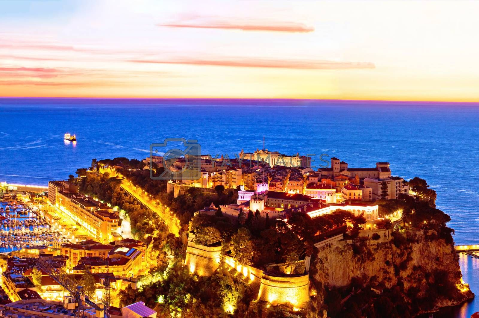Old Monaco town on the rock colorful evening panoramic view from above, Principality of Monaco